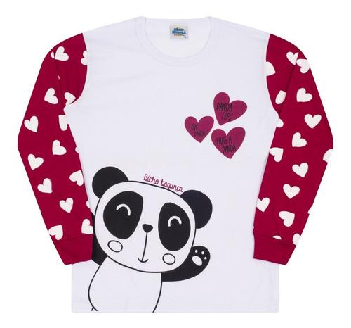 Pijama Infantil Menina Bicho Bagunça Panda