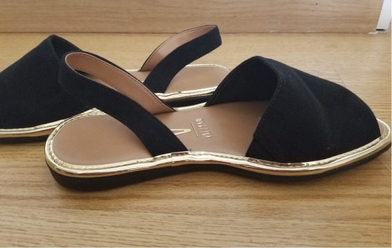 Zapato Zueco Sandalia Mules Vizzano Negro Gamuza -dorado T38