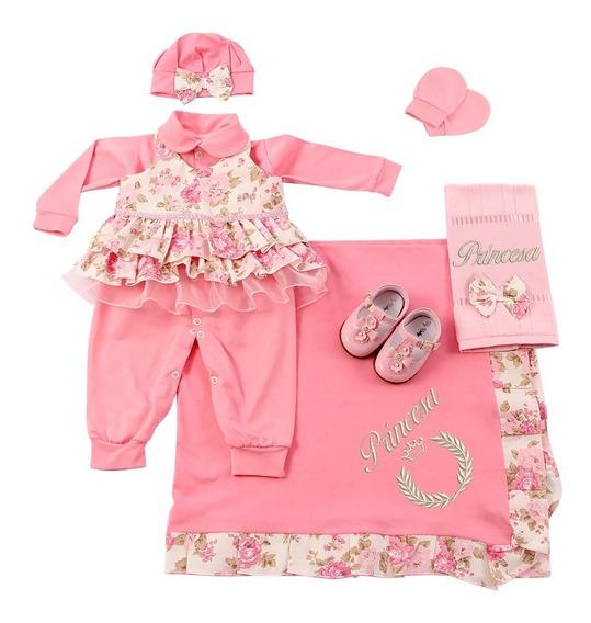 Saída De Maternidade Floral Menina Rosa 7 Peças