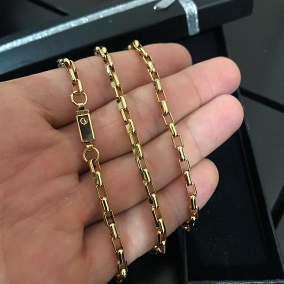 Cordão Colar Masculino Tijolinho Veneziano Folheado Ouro 18k