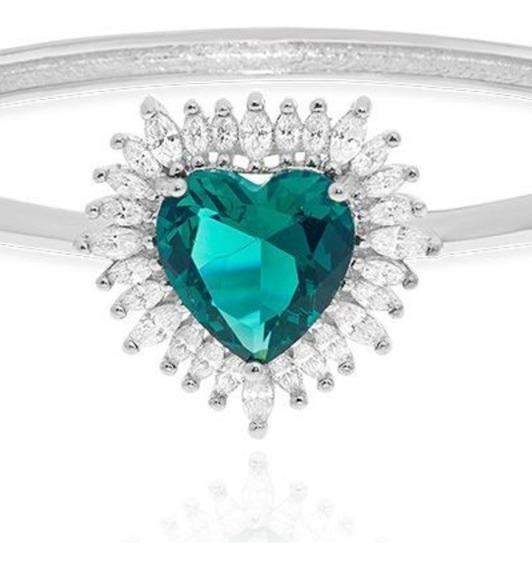 Pulseira Feminina Coração Prata Ouro Cristal Turmalina Z23