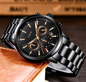 Relógio Preto E Dourado Oferta Exclusiva Lige Importado