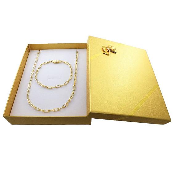 Corrente Cartier Banhada A Ouro 18 + Pulseira Conj. Presente
