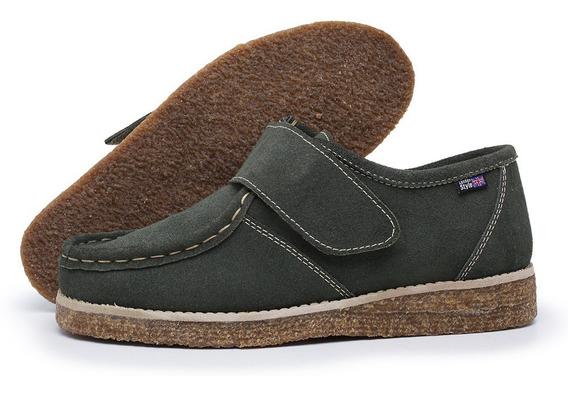 Sapato Fechamento Estilo Velcro Camurça E Solado Crepe Cola