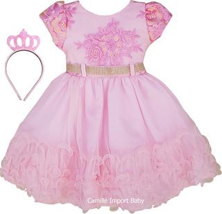 Vestido Infantil Festa Luxo Daminha Casamento Florista Tiara