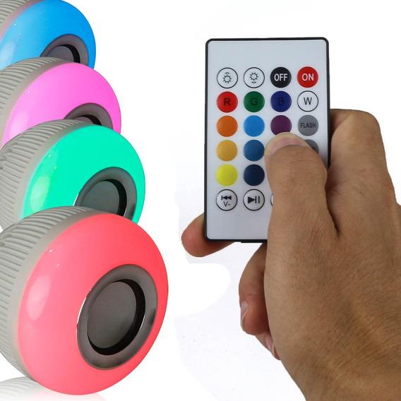 Lâmpada Led Musical Rgb Bluetooth Controle Remoto