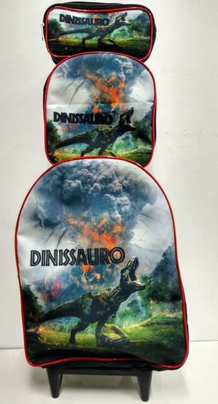 Kit Mochila De Rodinha Infantil Dinossauro