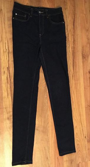 Pantalon Zara Cintura Alta Mezclilla Obscura Skinny!!