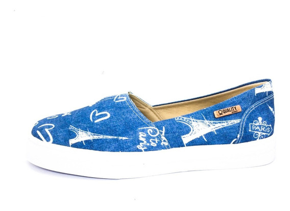 Tênis Slip On Quality Shoes Feminino 002 Jeans Paris