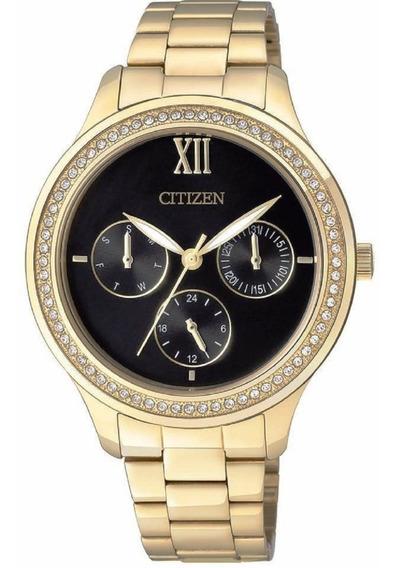 Relógio Citizen Feminino Dourado E Preto Cristais Tz28342u