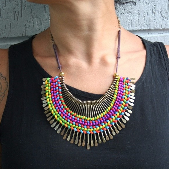 Colar Spike Arco Iris Etnico Boho Chic Hippei Nomad