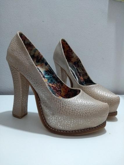 Zapatos Fiesta Mujer - Vero Cuoio - Color Beige Con Plata