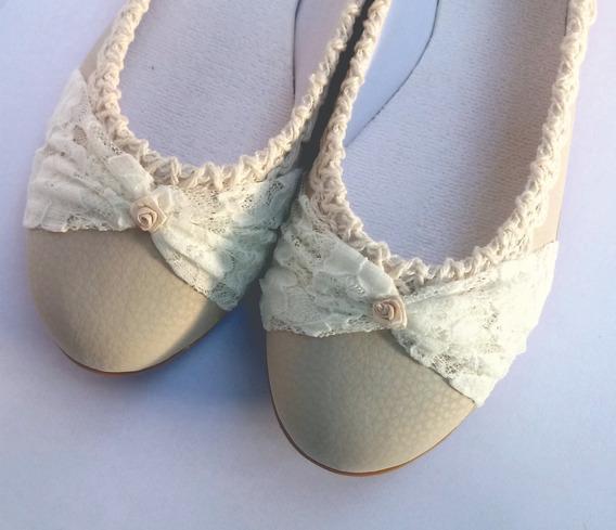 Zapatos Novia Chatitas Casamiento Fiestas Comunión Encaje