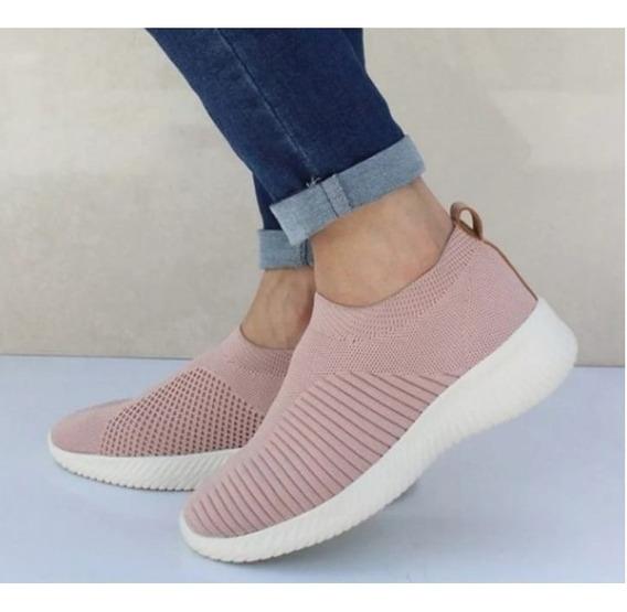 Calçado Esportivo Feminino De Malha Elástica Pano Respirável