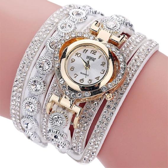 Relógio Quartzo Feminino Pulseira Cristal Promoção