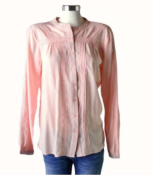 Camisa Cuello Mao Azul Rosa Mujer The Big Shop