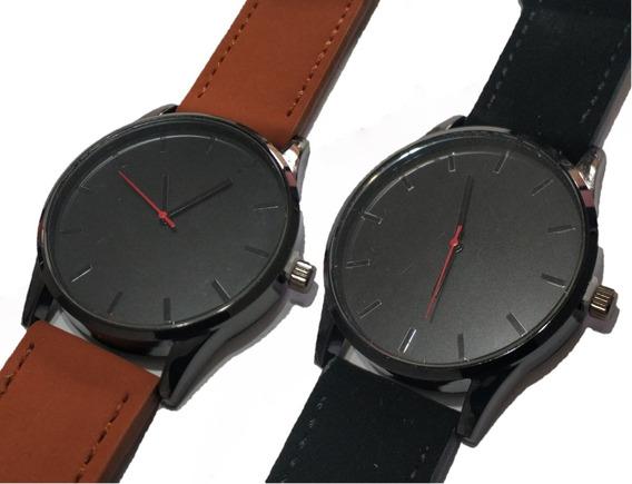 2 Relógios Masculinos De Couro Caramelo/preto Com Caixinha