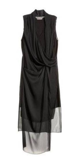 Vestido H&m Nuevo Talle 36 (s) Negro Casual Fiesta Drapeado