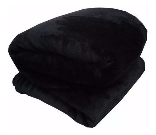 Imagen 1 de 4 de Cobija Manta Frazada Piel Ángel Térmica Unicolor Negro