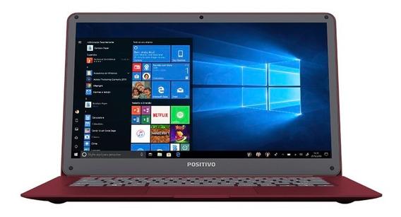 Notebook Positivo Motion C432a Celeron Windows 10 Home 4gb 32gb + 64gb Nuvem* Hd Tela 14 - Vermelho