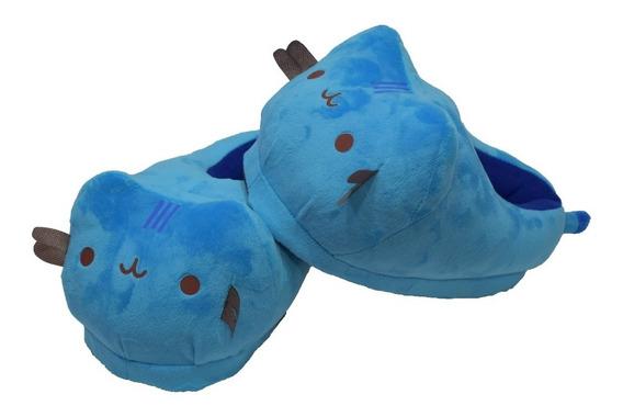 Pantuflas Gato Peluche Kawaii Cat Unisex Azul Envío Gratis!!