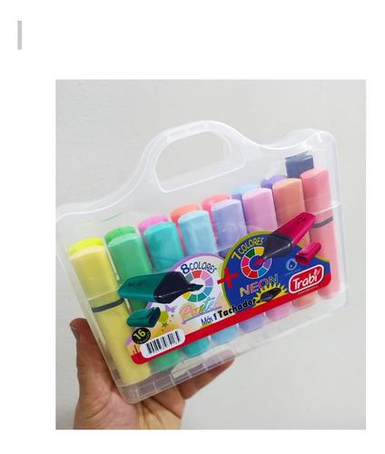 Imagen 1 de 9 de Valija Resaltadores Trabi 16 Colores Pastel + Neon + Tachadr