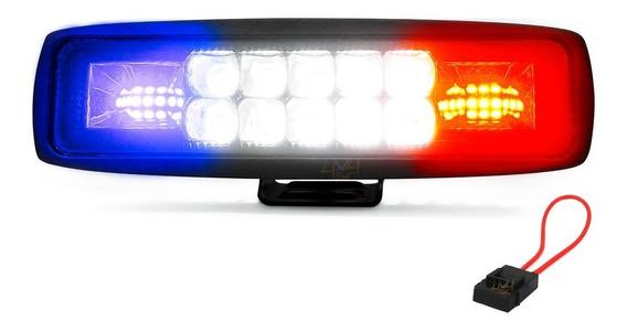 Farol De Milha Com Strobo Led Automotivo 48w 15,5cm - Centro Branco + Laterais Sinalização Piscam Azul E Vermelho - Und