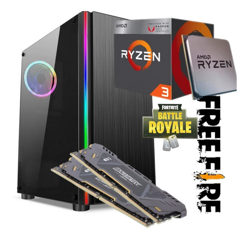 Pc Gamer Ryzen 3  8gb Ram 2400mhz Ssd 120gb Hd 3200gb