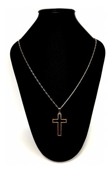 Corrente 70 Cm Cartier 2 Mm Crucifixo Vazado Banhada A Ouro