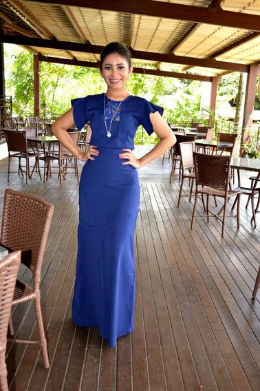 Vestido De Alfaiataria Feminina Em Sarja Azul-marinho