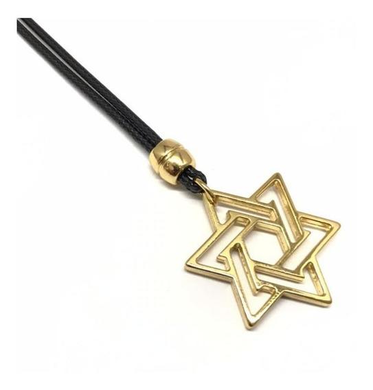 Colar Masculino Estrela De Davi Dourada- Ajustável