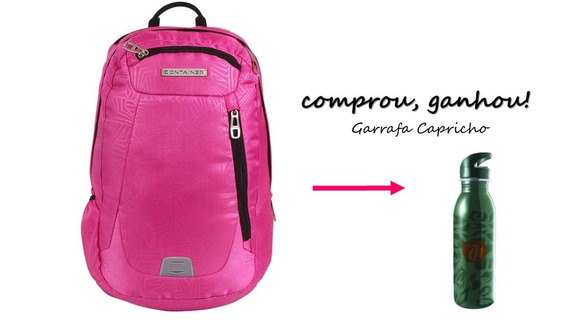 Mochila Executiva Notebook Container Pink 60127 + Brinde