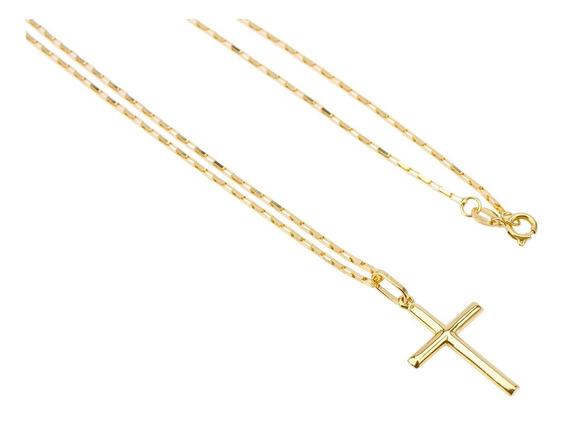 Corrente Cordão Cadeado 70cm + Pingente Crucifixo Ouro 18k