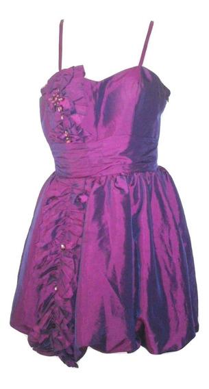 Vestido De Xv 15 Quince Años Moda Tornasol Fiesta Quinceañera Tirantes Corto Usado Talla Chica Liquidacion $1,490a