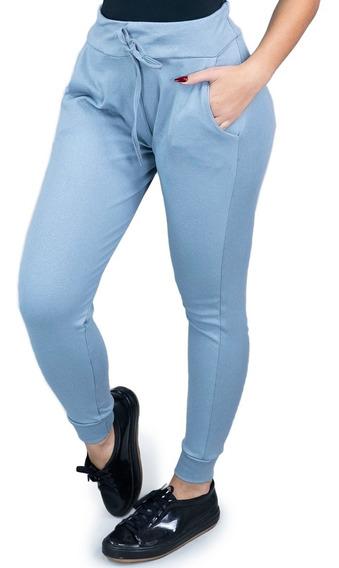 Calça Ribana Feminina Moda Cintura Alta Moletom Confortável