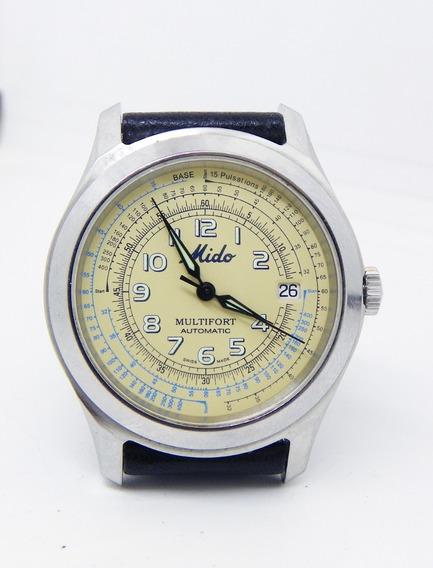 Reloj Mido Pulsómetro 15 Pulsaciones Caja De Acero 40 Mm