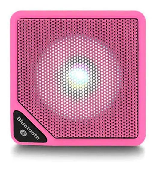 Caixa Som Cubo Speaker 3w Usb Bluetooth Aux Micro Sd Rosa