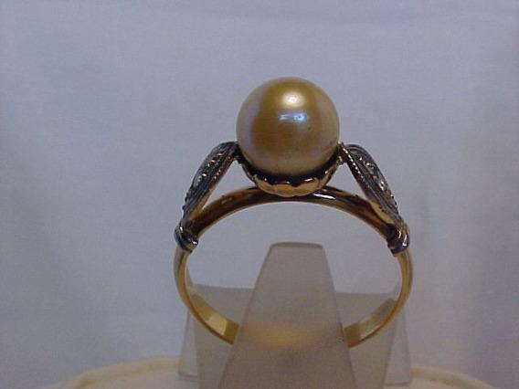 #462a - Anel Em Ouro 18k Com Perola E Diamantes