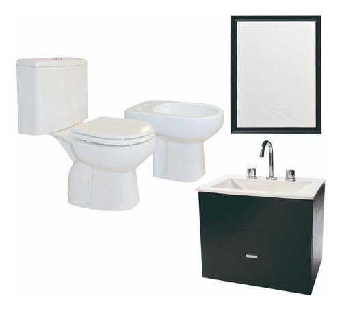 Imagen 1 de 2 de Juego Completo Baño Inodoro Vanitory 50cm Espejo