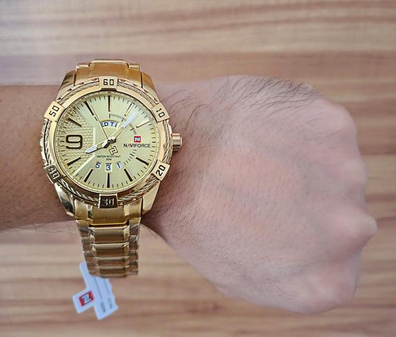 Relógio Masculino Dourado Importado Naviforce (última Peça)