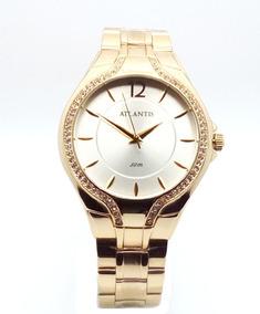 Relógio Analógico Atlantis Original Dourado Promoção
