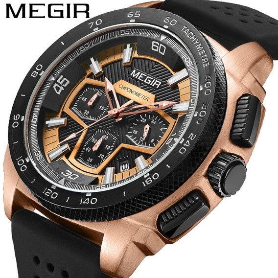 Megir 2056 Casual Quartzo Esportes Relógio Para Homens Prata