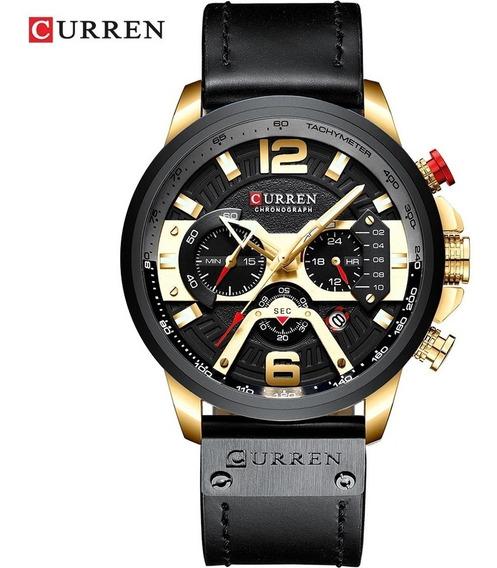 Relógio Masculino Curren 8329 Preto Dourado Original