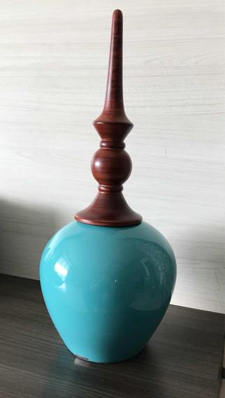 Pote De Cerâmica Azul Manzotti
