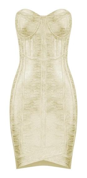Vestido Mujer Bandage Herve Leger Metálico Xs S M L
