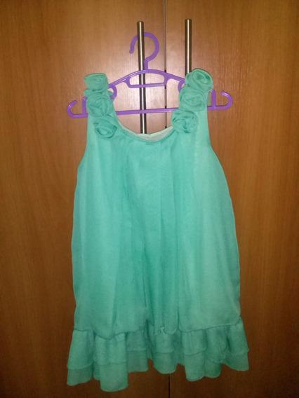 Vestido Niña Usado Verde Menta 5 Años