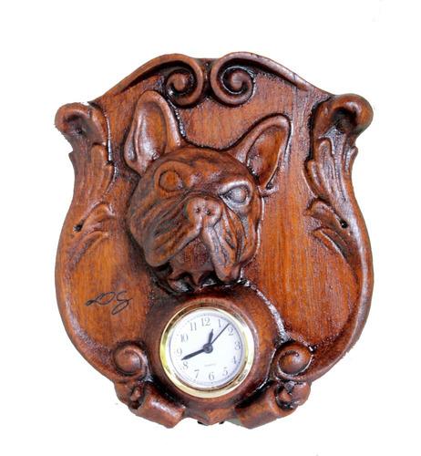 Relógio Bulldog, De Madeira, Para Mesa,rustico, Decoração