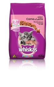 Ração Whiskas Filhotes Sabor Carne 10kg Gatos Gatinhos Ração
