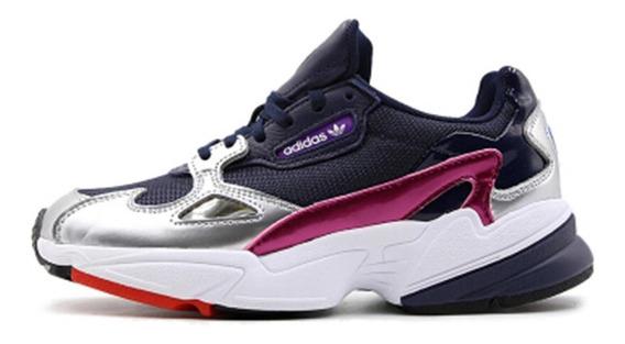 Tenis adidas Falcon W Mujer Casual Moda Tekno 90 Fila Retro