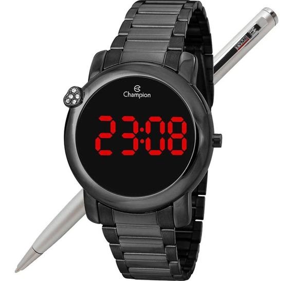 Relógio Champion Led Digital Feminino Ch48064d Preto C/ Nfe